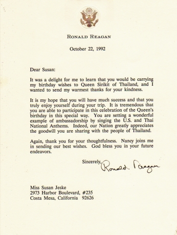 Susan jeske thank you letter from president reagan for delivering personal birthday greeting to her majesty queen sirikit stopboris Images