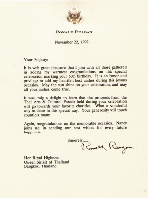 President Reagan Birthday Greeting Letter to Her Majesty Queen Sirikit