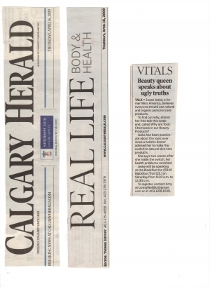Calgary Herald - Front page of Real Life Body & Health Section